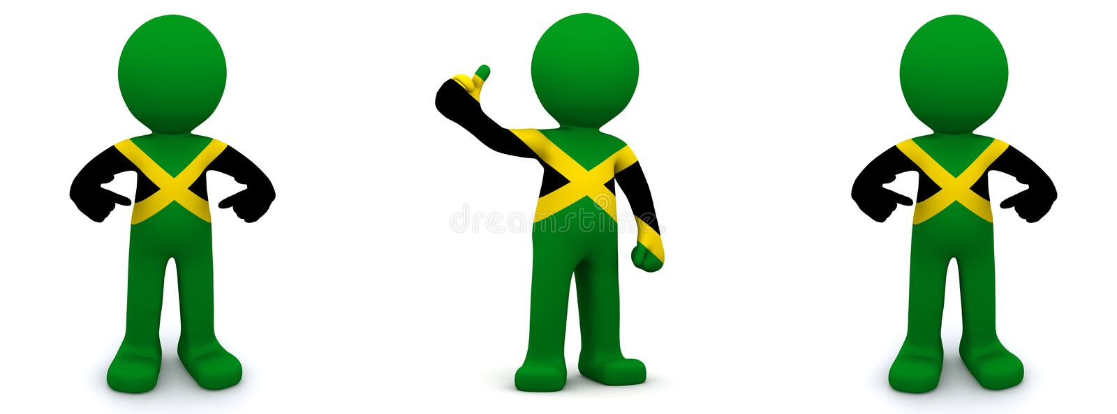 3d character textured with flag of Jamaica. Isolated on white background royalty free illustration