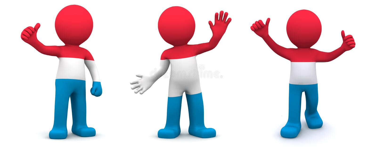 3d character textured with flag of Luxembourg. Isolated on white background royalty free illustration