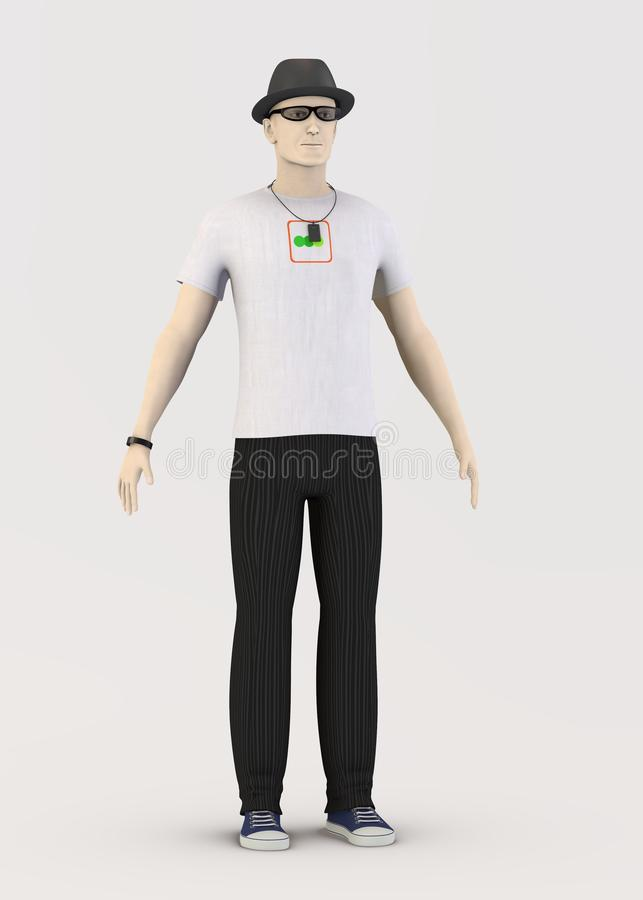 3d character - with white t-shirt vector illustration