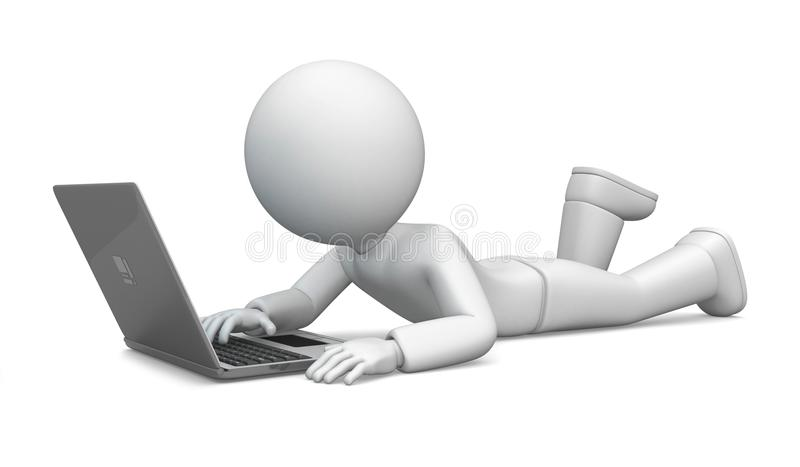 3D character working on a laptop stock photo
