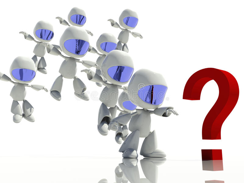 3d characters looking at a question mark vector illustration