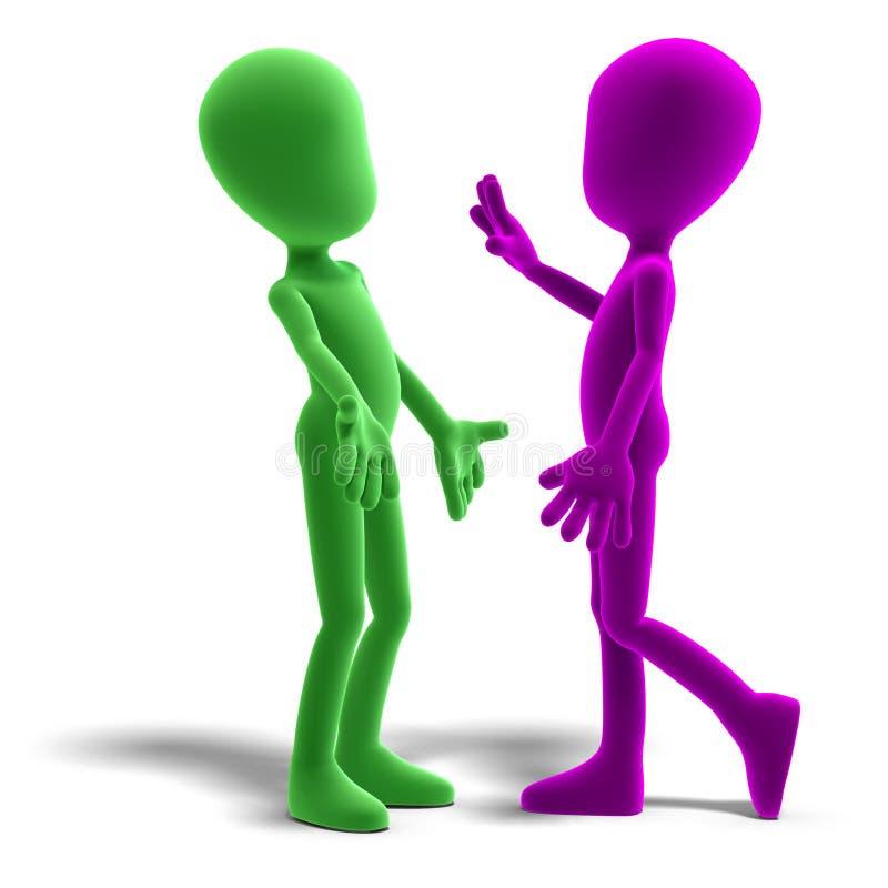 3d charakter dyskusja ikony samiec Toon ilustracji