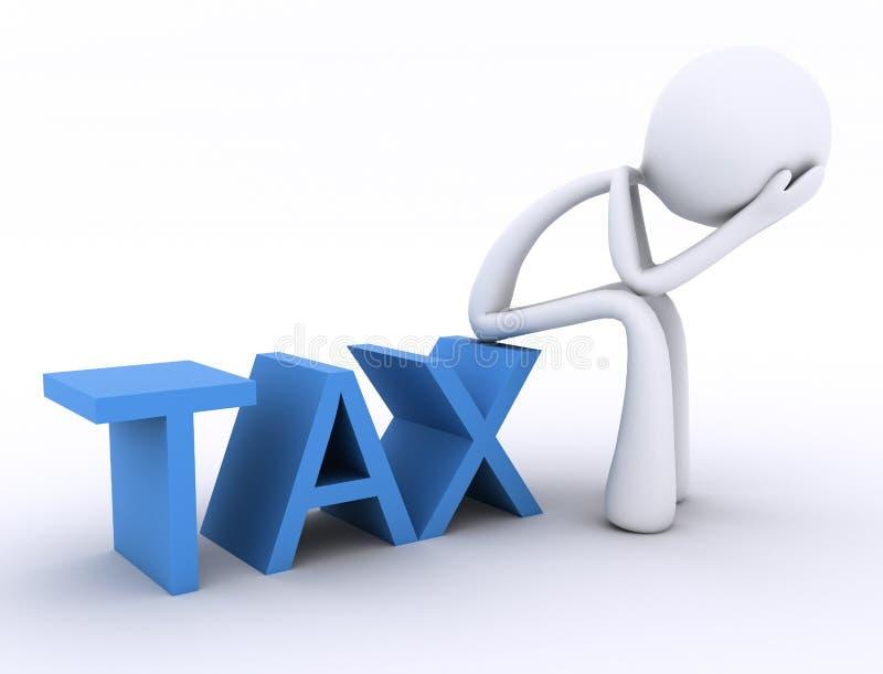 3d charakter wręcza kierowniczego podatek ilustracji