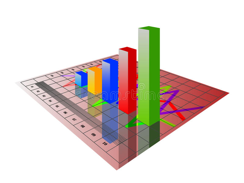 3D chart. Illustration of 3d image of business graph with growing chart vector illustration