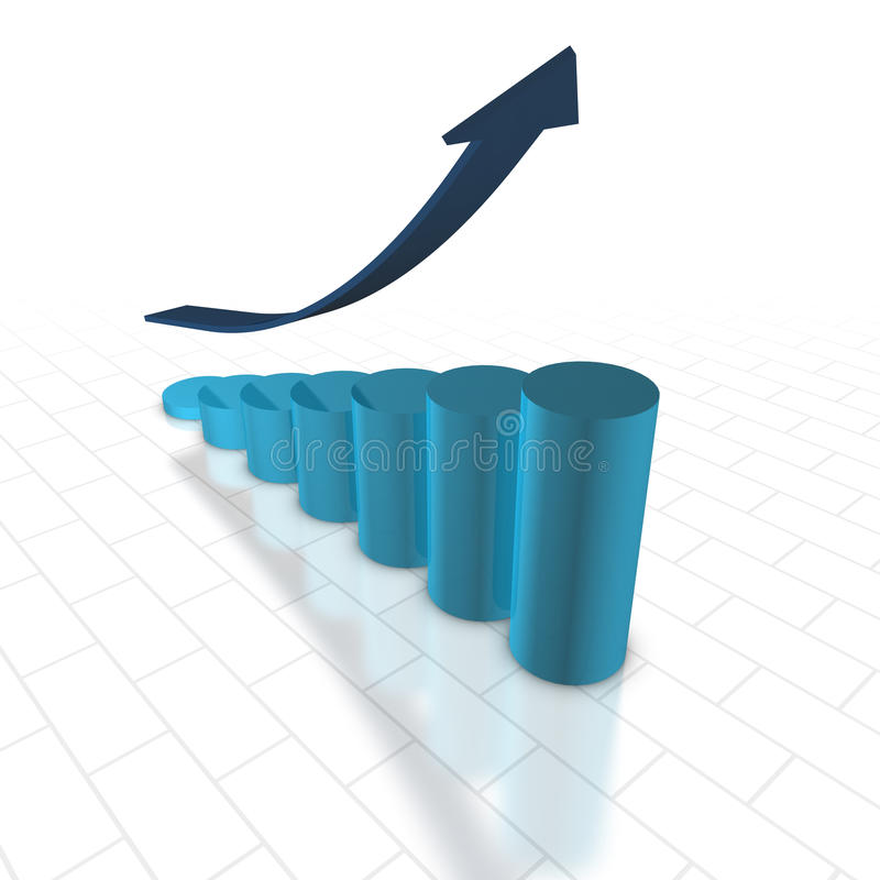 3D Chart. 3D render. Bar chart with blue arrow. Growth, success vector illustration
