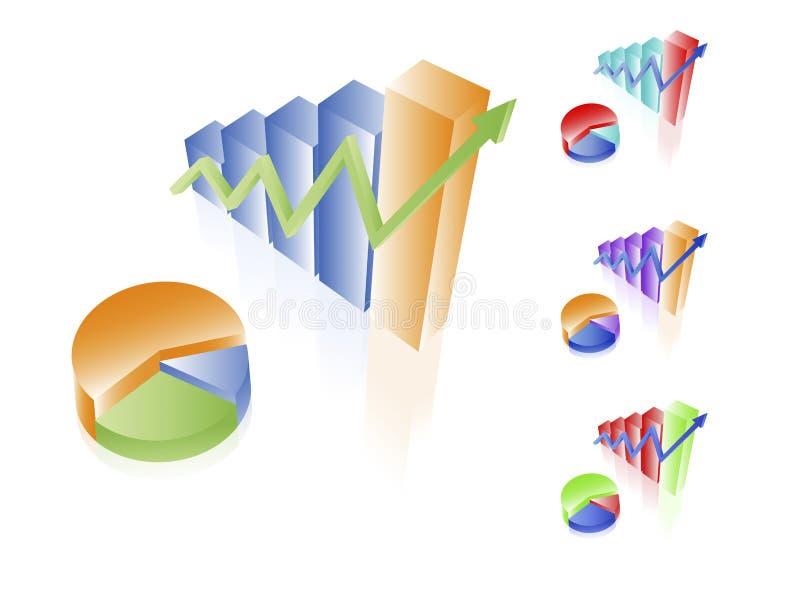 3d charts vektorn stock illustrationer