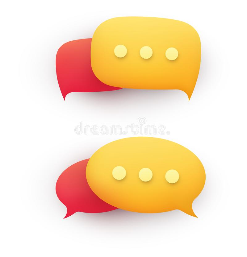 Free 3d Chat Message Speech Bubble In Yellow And Red On A White Background. Concept Of Discussion, Dialogue, Online Support Royalty Free Stock Image - 167339226