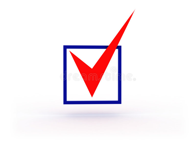 3d checkbox. 3d illustration of checkbox with red tick on white background royalty free illustration
