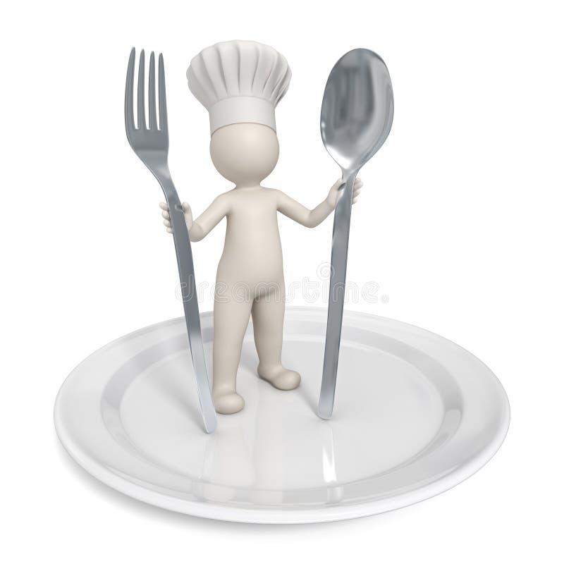 3d Chef-kok - het symbool van het Restaurant met schotel royalty-vrije illustratie