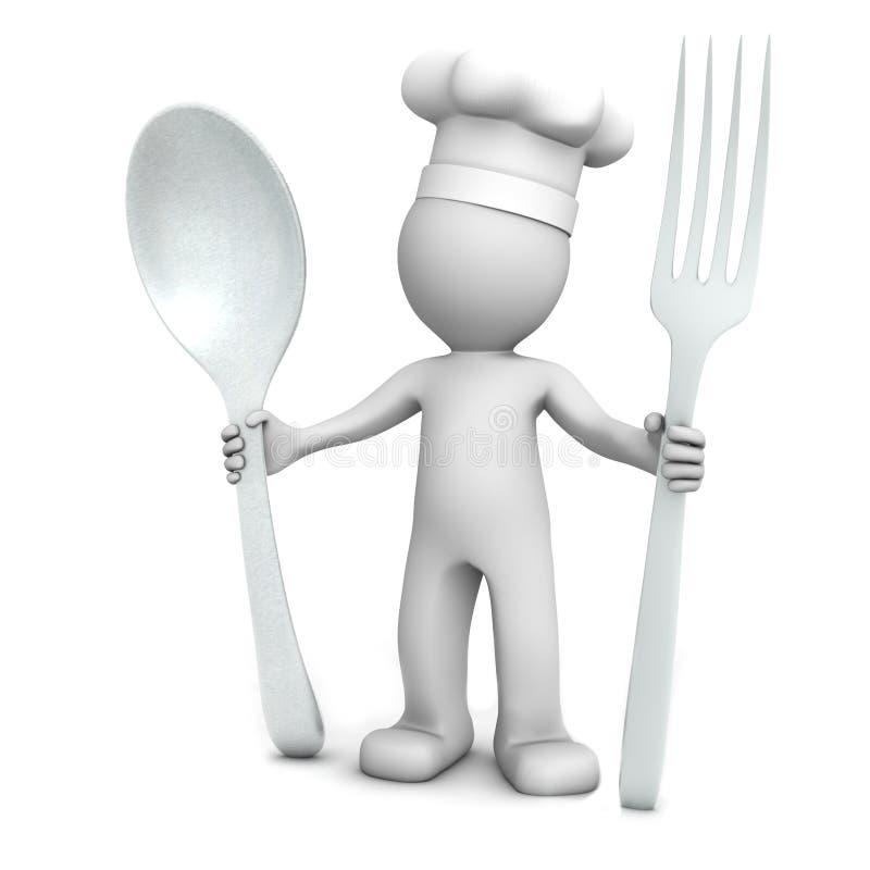 3D chef-kok met lepel en vork royalty-vrije illustratie