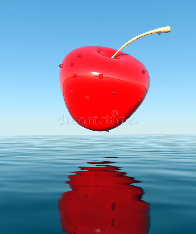 3D cherry. That falls into the water royalty free illustration