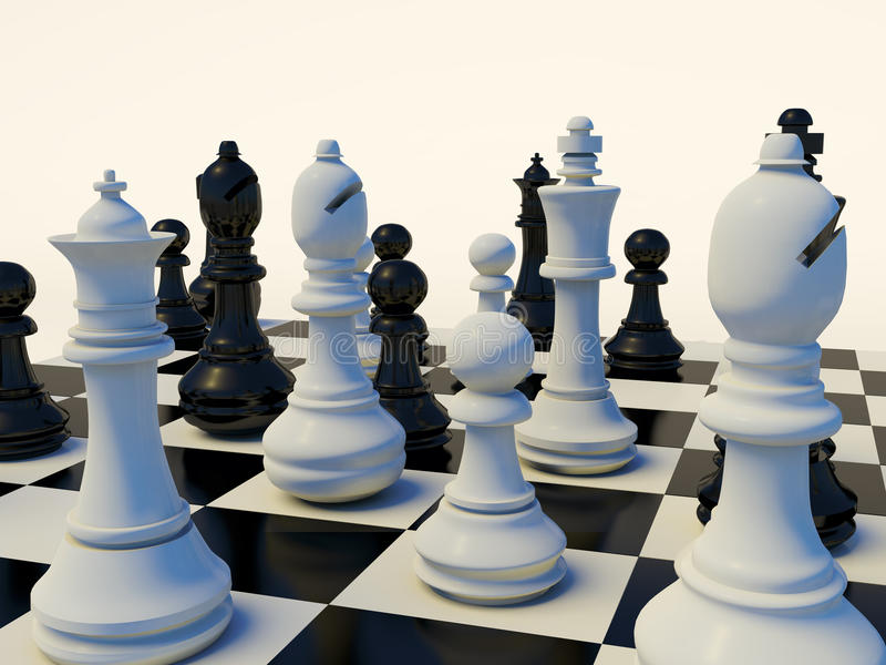 Download 3d Chess Table stock illustration. Image of pieces, strategy - 13091844