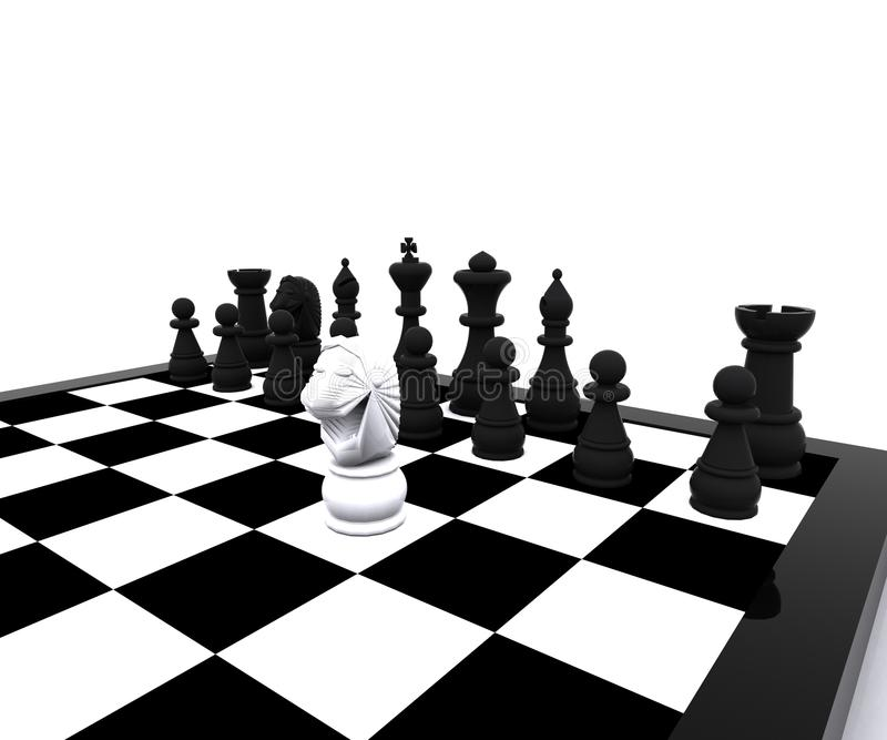 Download 3d Chess - White Horse In Attack Royalty Free Stock Photos - Image: 25943938