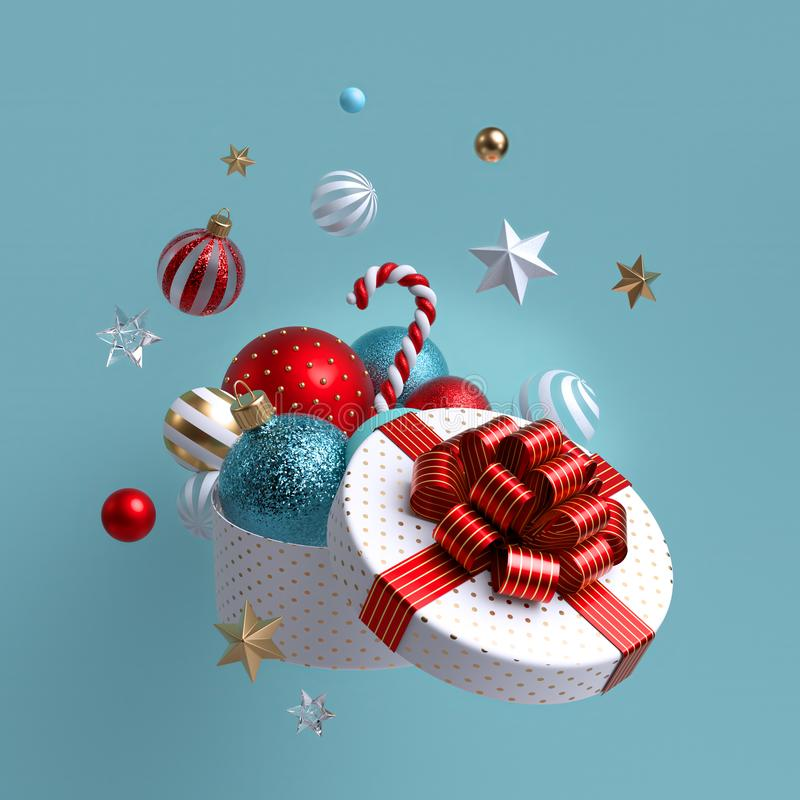 Free 3d Christmas Ornaments. Glass Balls Falling Out Of Open Round Box, White Wrapped Gift With Red Bow. Winter Holiday Package. Stock Photography - 163487082