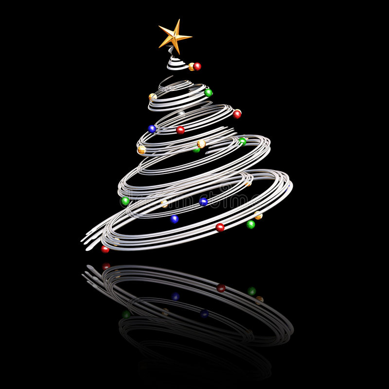 3D Christmas tree. 3D render of a Christmas tree
