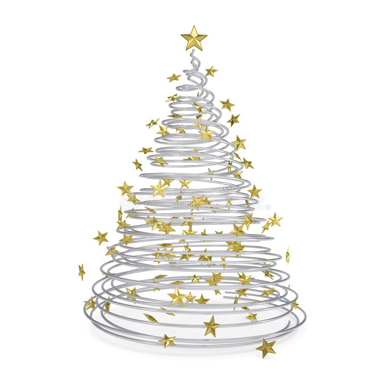 Free 3D Christmas Tree Made Of Metal Spirals And Gold Stars Stock Photography - 28282632