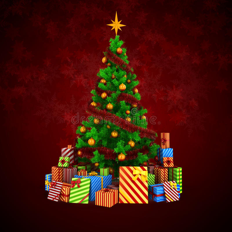 Free 3d Christmas Tree With Colorful Ornaments And Presents Stock Images - 45118544