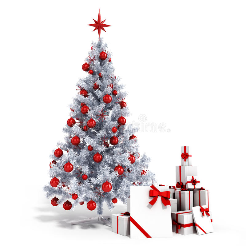 Free 3d Christmas Tree With Colorful Ornaments And Presents Royalty Free Stock Photo - 45118555