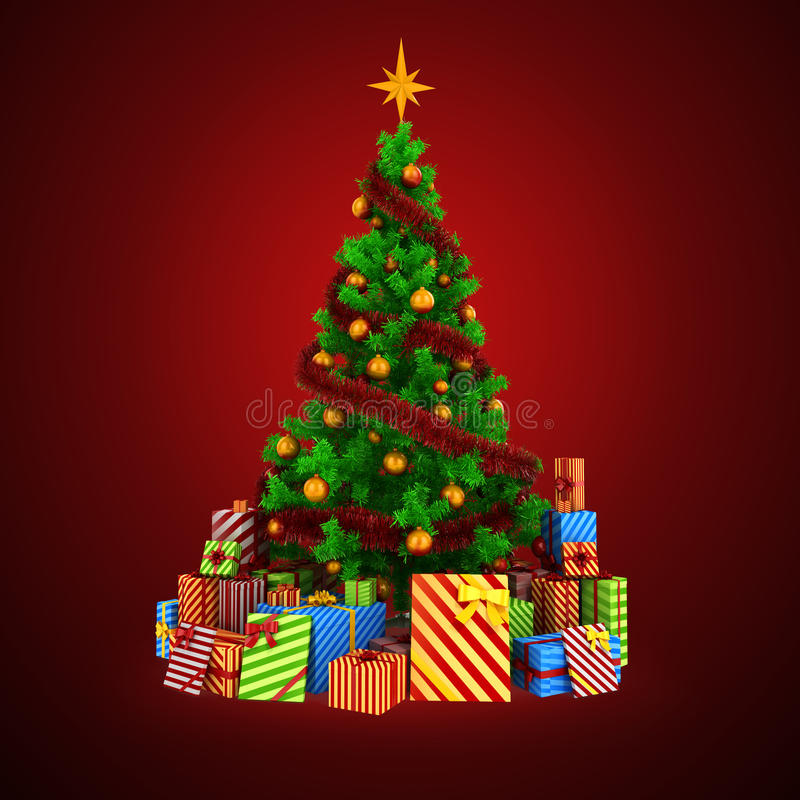 Free 3d Christmas Tree With Colorful Ornaments And Presents Royalty Free Stock Photos - 45118698