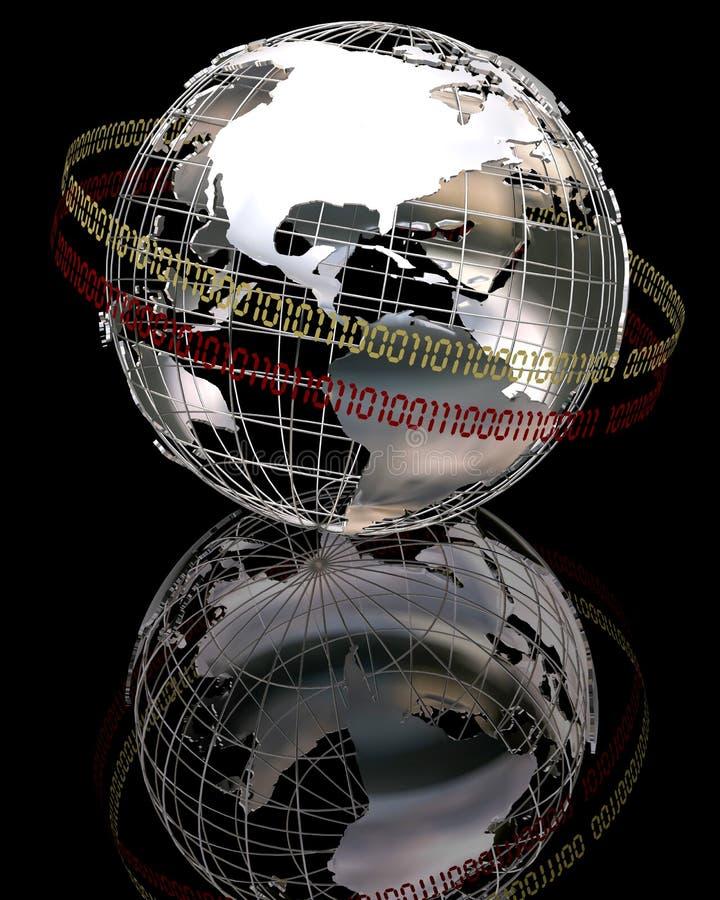 3d chrome globe stock illustration