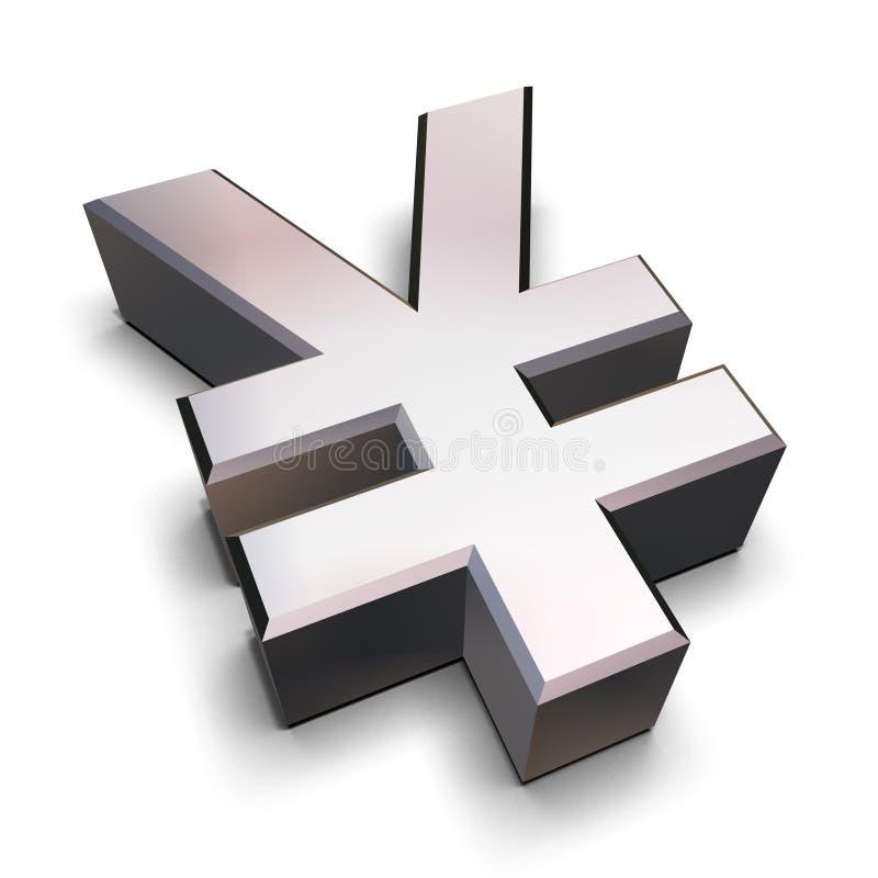 3D chrome Yen symbol royalty free illustration