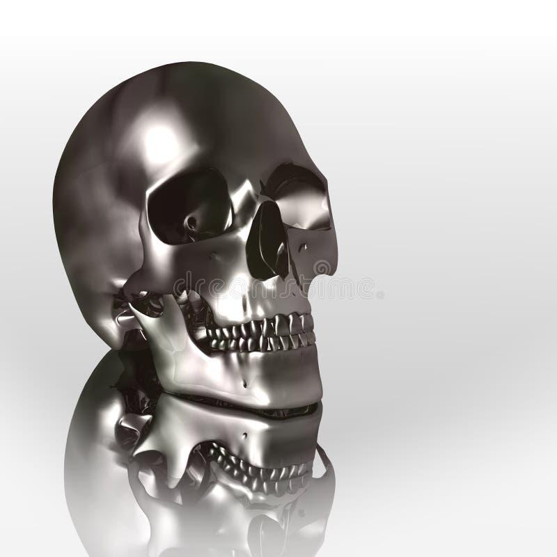 3D chroomschedel royalty-vrije illustratie