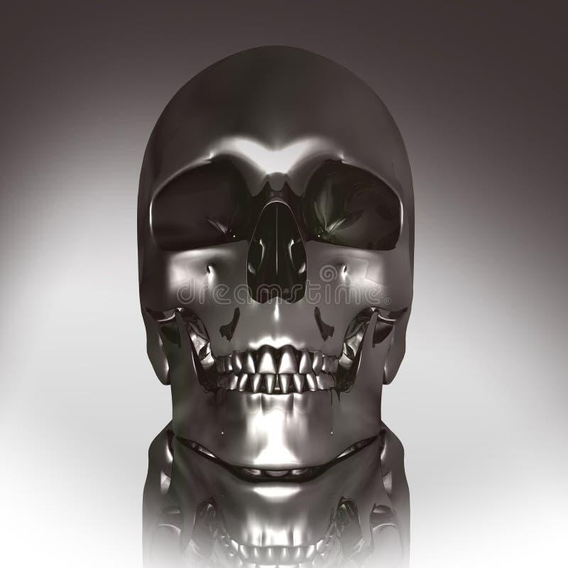 3D chroomschedel vector illustratie