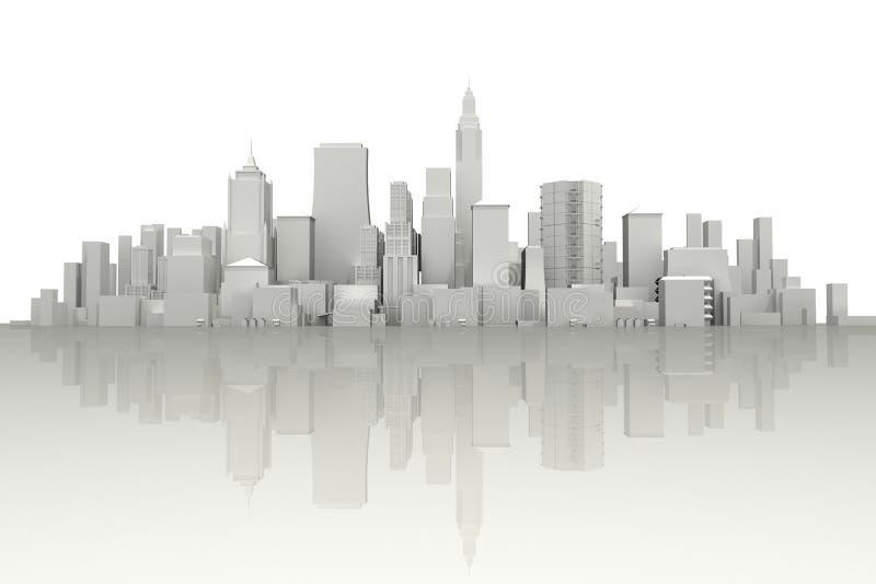 3d cidade Scape ilustração stock