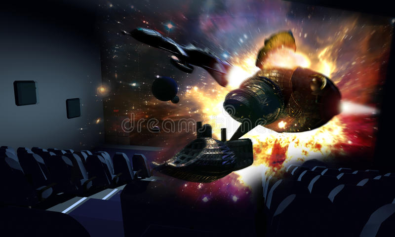 3D Cinema. In a cinema, a 3D science fiction movie gives the impression that two spaceships and an explosion are taking out of the screen