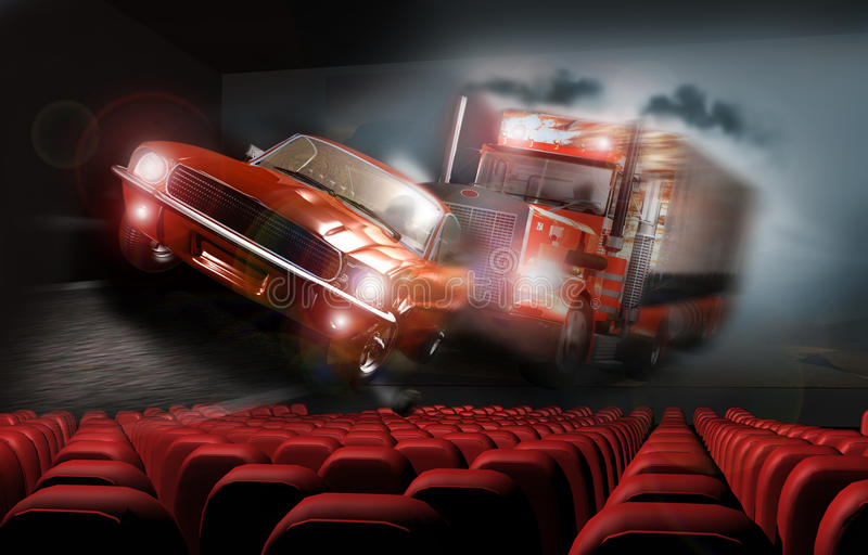 3D Cinema. In a cinema, a 3D action movie gives the impression that a car and a truck pursuit, coming out of the mist, are going out of the screen
