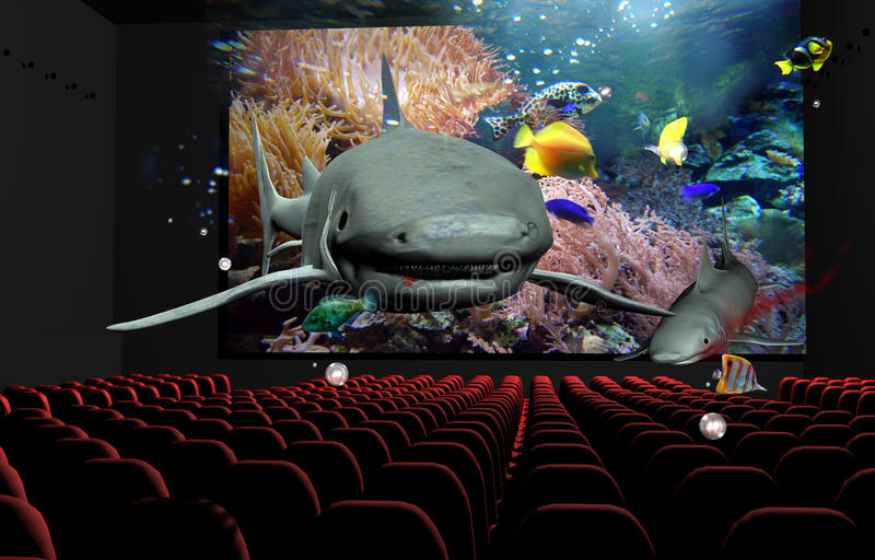 3D Cinema. In a cinema, a 3D documentary about marine life gives the impression that sharks an fishes are taking out of the screen