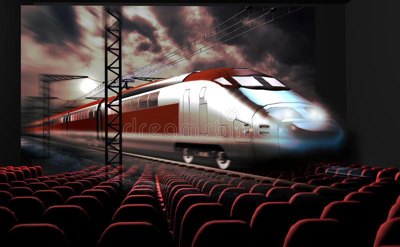 3D cinema. In a cinema, a 3D movie shows a modern high-speed train which seems to come out from the screen and invade the room. This could be used as an homage