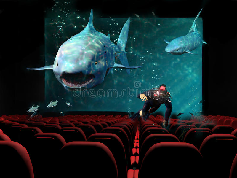 3D cinema. In a cinema, a 3D movie shows a diver trying to escape from a shark attack. Sharks and diver seem to come out from the screen
