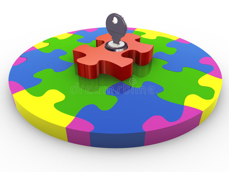 3d circle puzzle lock and key stock illustration