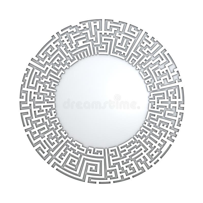 3D cirkel in labyrintpatroon vector illustratie