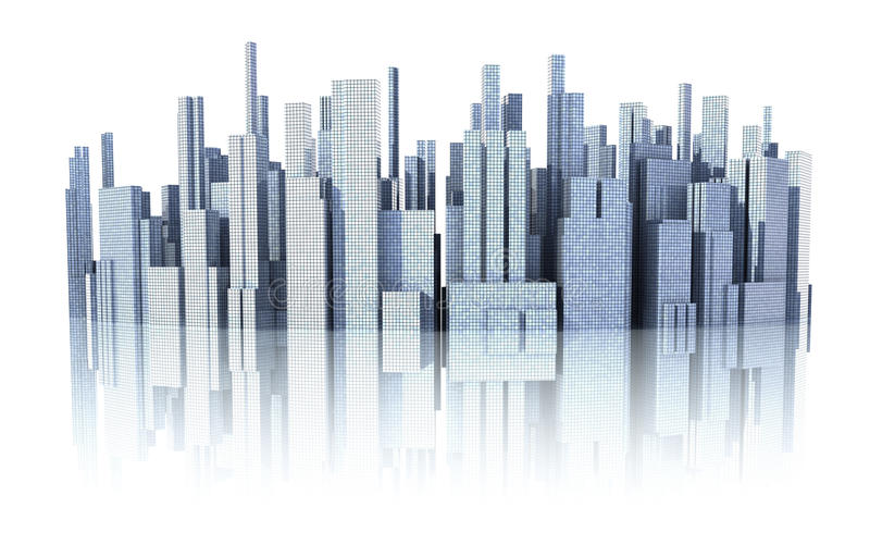 Download 3d cityscape stock illustration. Image of construct, reflection - 11088252