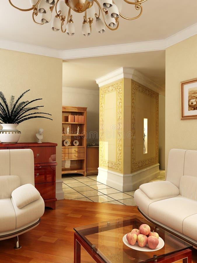 3D classic interior royalty free stock photos