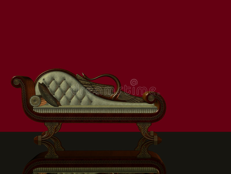 Download 3d classical chaise longue stock illustration. Illustration of wooden - 6961490