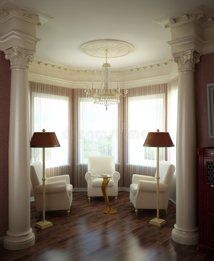 3d classical interior royalty free illustration
