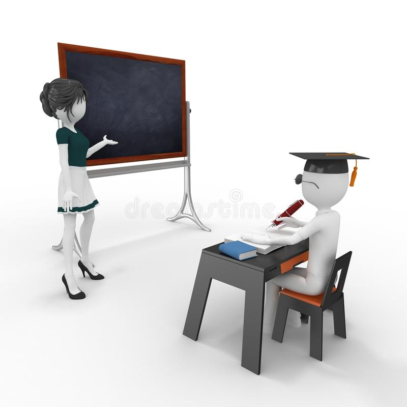 Download 3d Classroom With Teacher And Pupil Stock Illustration - Image: 19487301