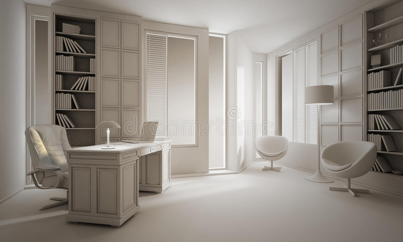 3d clay render of a luxury office interior design. 3d clay render of a luxury office, interior design royalty free illustration