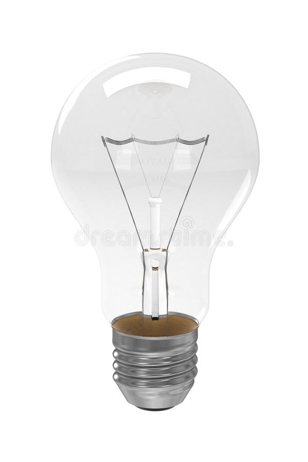 3d Clear Light Bulb isolated stock illustration