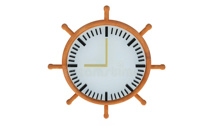 3D clock. Boat steering wheel vector illustration