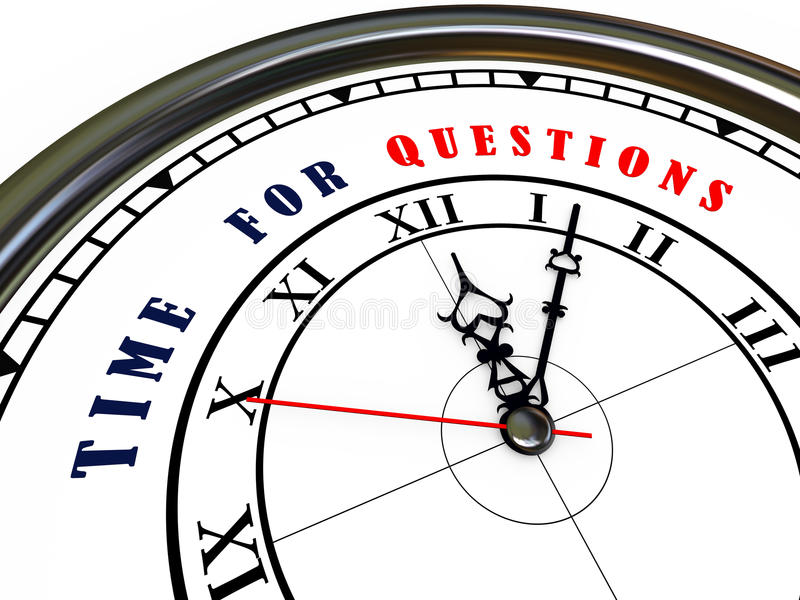 3d clock - time for questions stock illustration