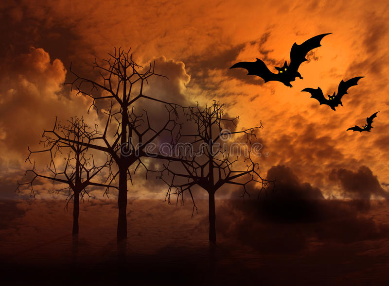 3d cloudy landscape with bats royalty free stock images