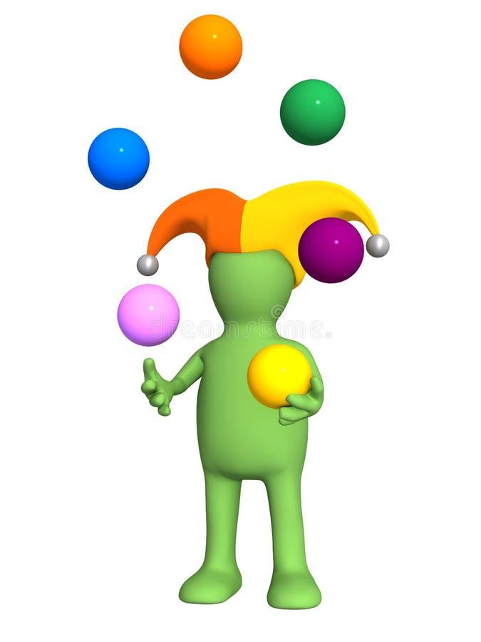 3d clown - marionet, die met kleurenballen jongleert met royalty-vrije illustratie