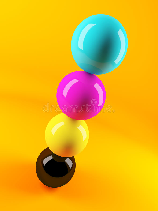 Free 3d CMYK Coloured Sphere In Formation Stock Photo - 45134800