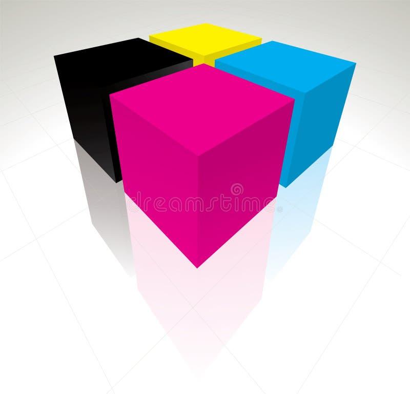 3D CMYK cubes royalty free illustration