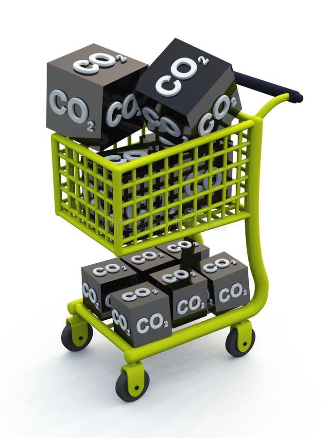 3D CO2 shopping cart green vector illustration