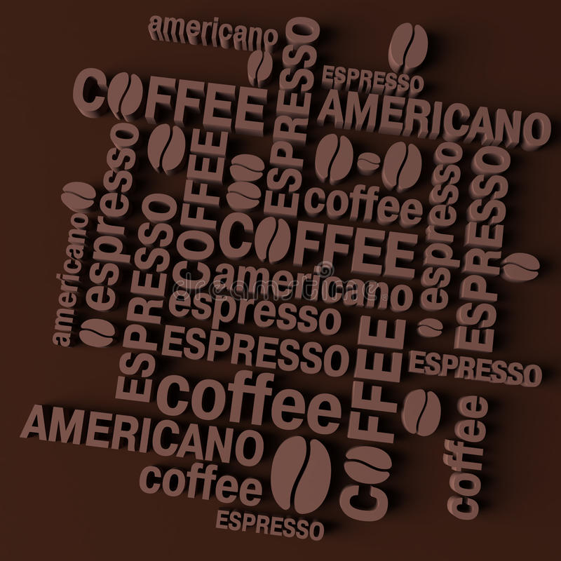 3D coffee background stock illustration